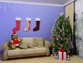 Christmas child room — Stock Photo