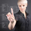Royalty-Free Stock Photo: Database Table - technical concept, girl pointing screen