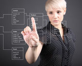 Database Table - technical concept, girl pointing screen — Stock Photo