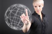 Il cloud computing concetto - comunicazione e condivisione dei dati ampio mondo — Foto Stock