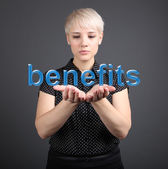 Benefits concept - Business Woman with word — Stock Photo