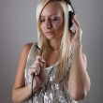 Girl with headphones — Stock Photo