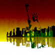 Vector Illustration of New York Skyline with the Statue of Liberty - Stock Photo