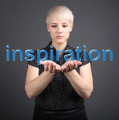 Inspiration concept - business woman touching word button — Stock Photo