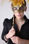 Dziewczynka elegancki z maską wspaniały — Zdjęcie stockowe