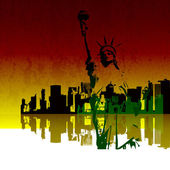 Vector Illustration of New York Skyline with the Statue of Liberty — Stock Photo