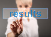Results business concept - girl touching screen — Stock Photo
