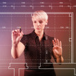 Blueprint design technical concept - girl drawing on screen — Stock Photo #18808239