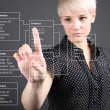 Database Table - technical concept, girl pointing screen - Foto Stock