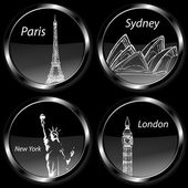 Travel destination badges icons, set with Paris, London, Sydney and New York and their landmarks — Stock Photo