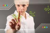 Konzept - geschäftsfrau berührung bildschirms zur problemlösung — Stockfoto