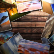Photos on the wood desk — Stock Photo