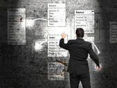 Database background with businessman — Stock Photo