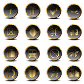 Set of golden vector icons in EPS10 — Stock Photo