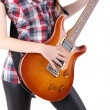 Cute girl with electric guitar isolated — Stock Photo