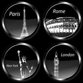 Travel destination badges icons, set with Paris, London, Rome and New York and their landmarks — Stock Photo