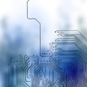 Microchip background - close-up of electronic circuit board with processor — Stock Photo