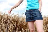 Mujer en campo de trigo — Foto de Stock