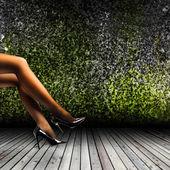 Woman's Legs Wearing Pantyhose and High Heels — Stockfoto