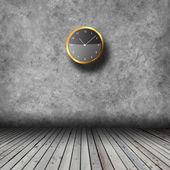 Vuoto interno con parete grunge e orologi — Foto Stock