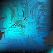 Microchip background - close-up of electronic circuit board — Stock Photo