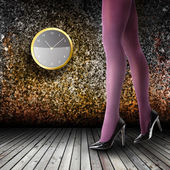 Woman's Legs Wearing Pantyhose and High Heels — 图库照片