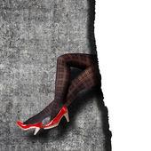 Woman's Legs Wearing Pantyhose and High Heels — Stock fotografie