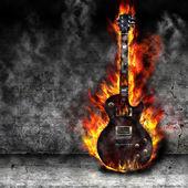 Hořící kytara — Stock fotografie