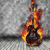 горящий гитара — Стоковое фото