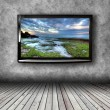 Plasma TV on the wall of the room — Stock Photo