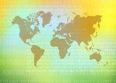 世界地图科技背景 — 图库照片