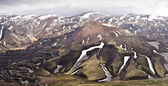 Panoramatic view mountains in Iceland, Landmannalaugar — Stock Photo