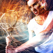 Tennis player with lightnings — Stock Photo #40026761