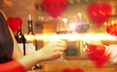 Valentine's Day concept with wine and glasses — Stock Photo