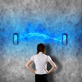 Young Businesswoman and Lightning — Stock Photo