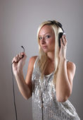 Girl with headphones — Foto Stock