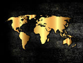 Golden world map — Stock Photo