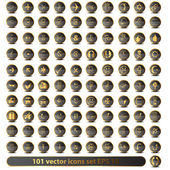 Set of 101 golden vector icons — Stock Photo