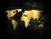 Golden world map — Stock Photo