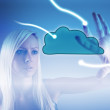 Cloud computing concept - world wide data sharing — Stock Photo #48372295