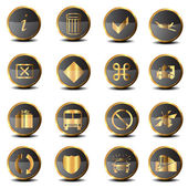 Set of golden vector icons — Stock Photo