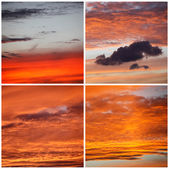 Beautiful red sunset over the italian sea, rich dark clouds — Stock Photo