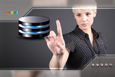 Problem solving concept with business woman touching screen — Stock Photo
