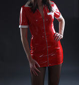 Sexy Red Fetish Dress — Stock Photo
