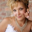 Portrait of a beautiful young bride against brick wall — Stock Photo #7005209