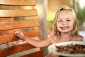 Little girl having breakfast — Stock Photo