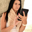 Picture of happy teenage girl with tablet pc computer — Stock Photo #12751706