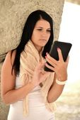 Picture of happy teenage girl with tablet pc computer — Stock Photo