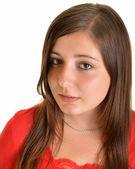 Brune, üzerinde beyaz izole uzun saçları olan güzel kadın — Stok fotoğraf