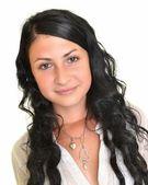 Hermosa joven con el pelo negro, largo, aislado en blanco — Foto de Stock